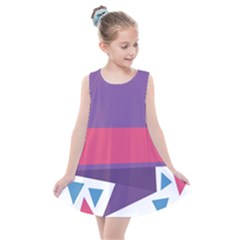 Triangle Fragment Ribbon Title Box Kids  Summer Dress by AnjaniArt