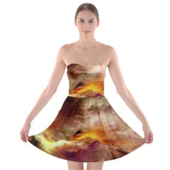 Abstract 3d Graphics Psychedelic Nebula Space Strapless Bra Top Dress by Bejoart