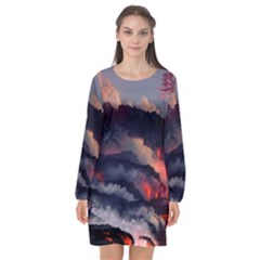Landscapes Cherry Blossoms Trees Sea Lava Smoke Rocks Artwork Drawings Long Sleeve Chiffon Shift Dress