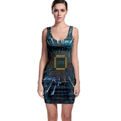 Electronics Machine Technology Circuit Electronic Computer Technics Detail Psychedelic Abstract Patt Bodycon Dress