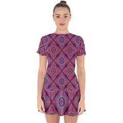 Ethnic Floral Seamless Pattern Drop Hem Mini Chiffon Dress