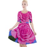 Roses Collections Quarter Sleeve A-Line Dress