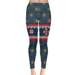 Dark Blue Ugly Christmas Stars Leggings