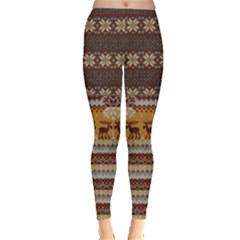 Brown Fun Classic Ugly Christmas Pajamas Leggings