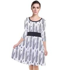 Christmas Pine Pattern Organic Hand Drawn Modern Black And White Quarter Sleeve Waist Band Dress by snek