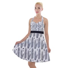 Christmas Pine Pattern Organic Hand Drawn Modern Black And White Halter Party Swing Dress  by snek