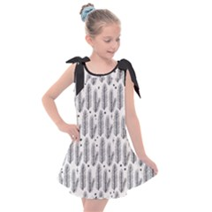 Christmas Pine Pattern Organic Hand Drawn Modern Black And White Kids  Tie Up Tunic Dress by snek