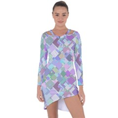 Colorful Background Multicolored Asymmetric Cut-out Shift Dress by Bejoart