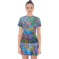 Globe World Map Maps Europe Drop Hem Mini Chiffon Dress