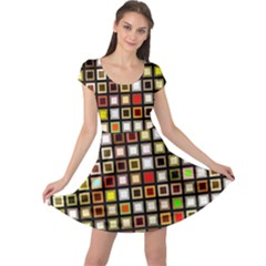 Squares Colorful Texture Modern Art Cap Sleeve Dress