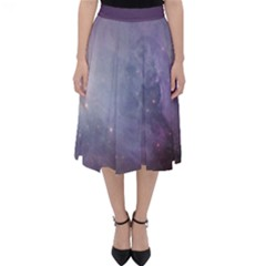 Orion Nebula Pastel Violet Purple Turquoise Blue Star Formation Classic Midi Skirt by genx