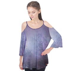 Orion Nebula Pastel Violet Purple Turquoise Blue Star Formation Flutter Tees by genx