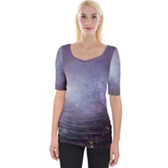 Orion Nebula Pastel Violet Purple Turquoise Blue Star Formation Wide Neckline Tee by genx