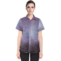 Orion Nebula Pastel Violet Purple Turquoise Blue Star Formation Women s Short Sleeve Shirt by genx
