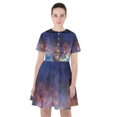 Lagoon Nebula Interstellar Cloud Pastel Pink, Turquoise And Yellow Stars Sailor Dress by genx