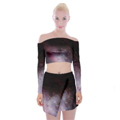 Eagle Nebula Wine Pink And Purple Pastel Stars Astronomy Off Shoulder Top With Mini Skirt Set by genx