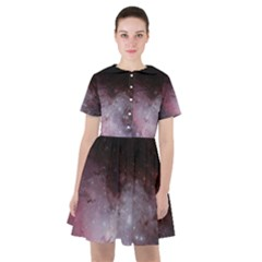 Eagle Nebula Wine Pink And Purple Pastel Stars Astronomy Sailor Dress by genx