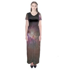Orion Nebula Star Formation Orange Pink Brown Pastel Constellation Astronomy Short Sleeve Maxi Dress by genx
