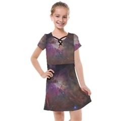 Orion Nebula Star Formation Orange Pink Brown Pastel Constellation Astronomy Kids  Cross Web Dress by genx