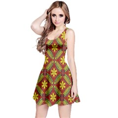 Abstract Floral Pattern Background Reversible Sleeveless Dress