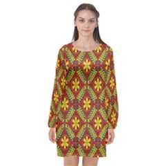 Abstract Floral Pattern Background Long Sleeve Chiffon Shift Dress  by Alisyart
