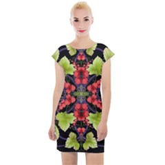 Pattern Berry Red Currant Plant Cap Sleeve Bodycon Dress by Bejoart
