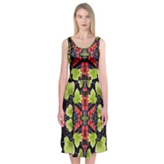 Pattern Berry Red Currant Plant Midi Sleeveless Dress