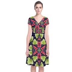 Pattern Berry Red Currant Plant Short Sleeve Front Wrap Dress by Bejoart