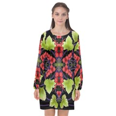 Pattern Berry Red Currant Plant Long Sleeve Chiffon Shift Dress
