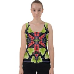 Pattern Berry Red Currant Plant Velvet Tank Top by Bejoart