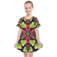 Pattern Berry Red Currant Plant Kids  Smock Dress by Bejoart