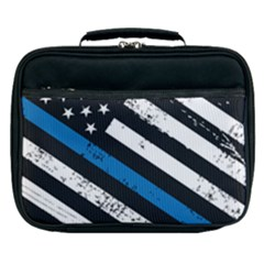 Usa Flag The Thin Blue Line I Back The Blue Usa Flag Grunge On Black Background Lunch Bag by snek