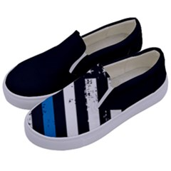Usa Flag The Thin Blue Line I Back The Blue Usa Flag Grunge On Black Background Kids  Canvas Slip Ons by snek