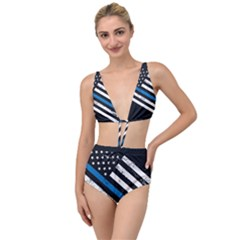 Usa Flag The Thin Blue Line I Back The Blue Usa Flag Grunge On Black Background Tied Up Two Piece Swimsuit by snek