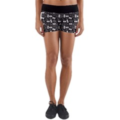 Tape Cassette 80s Retro Genx Pattern Black And White Yoga Shorts by genx