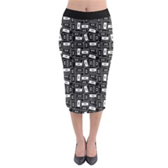 Tape Cassette 80s Retro Genx Pattern Black And White Midi Pencil Skirt by genx