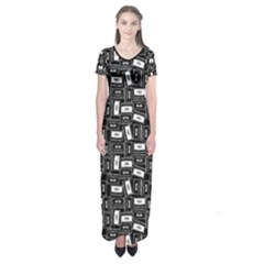 Tape Cassette 80s Retro Genx Pattern Black And White Short Sleeve Maxi Dress by genx