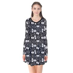 Tape Cassette 80s Retro Genx Pattern Black And White Long Sleeve V Neck Flare Dress by genx