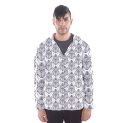 Scarab Pattern Egyptian Mythology Black And White Hooded Windbreaker (men) by genx