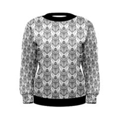 Scarab Pattern Egyptian Mythology Black And White Women s Sweatshirt by genx