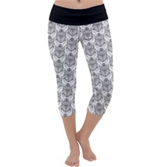 Scarab Pattern Egyptian Mythology Black And White Capri Yoga Leggings by genx