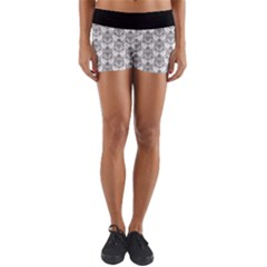 Scarab Pattern Egyptian Mythology Black And White Yoga Shorts by genx