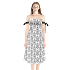 Scarab Pattern Egyptian Mythology Black And White Shoulder Tie Bardot Midi Dress by genx