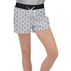 Scarab Pattern Egyptian Mythology Black And White Women s Velour Lounge Shorts by genx