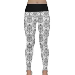 Scarab Pattern Egyptian Mythology Black And White Lightweight Velour Classic Yoga Leggings by genx