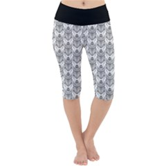 Scarab Pattern Egyptian Mythology Black And White Lightweight Velour Cropped Yoga Leggings by genx
