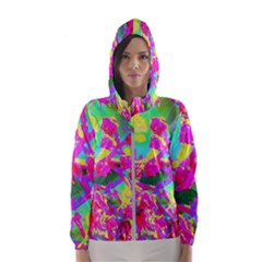 Psychedelic Succulent Sedum Turquoise And Yellow Hooded Windbreaker (women) by myrubiogarden