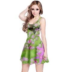 Hot Pink Succulent Sedum With Fleshy Green Leaves Reversible Sleeveless Dress by myrubiogarden