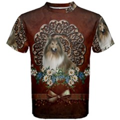 Cute Collie With Flowers On Vintage Background Men s Cotton Tee