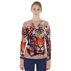 Tiger Portrait Art Abstract V Neck Long Sleeve Top by Bejoart